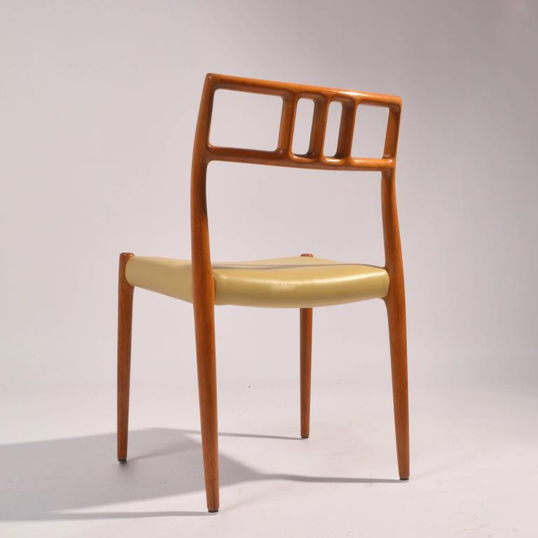 Mid-20th Century Eight J.L. Møller Model 79 Dining Chairs by Niels Møller in Leather For Sale