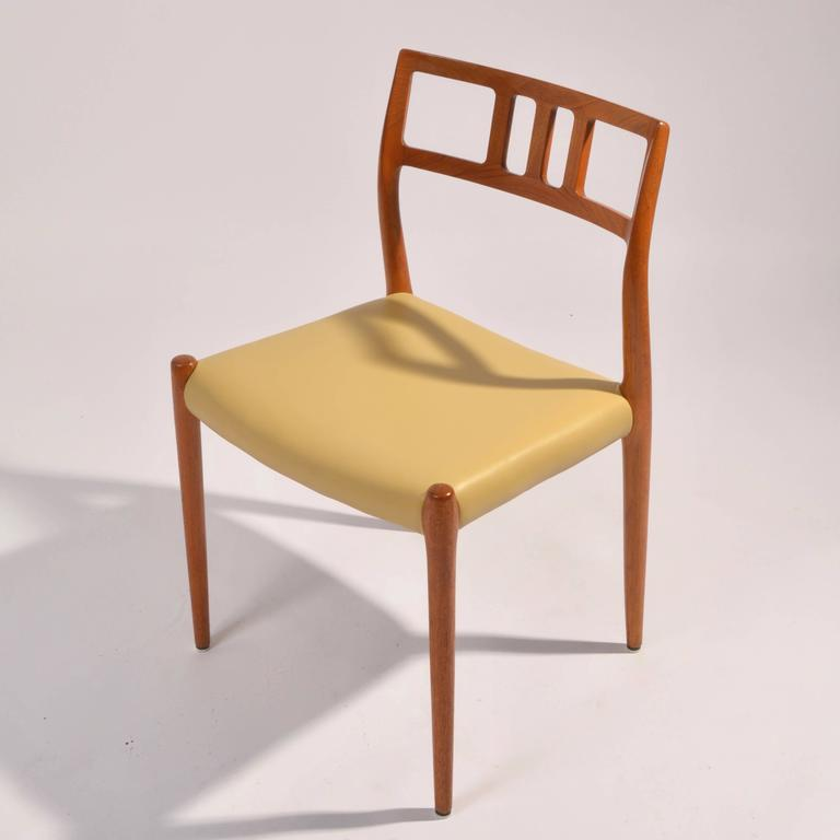 Eight J.L. Møller Model 79 Dining Chairs by Niels Møller in Leather In Excellent Condition For Sale In Los Angeles, CA