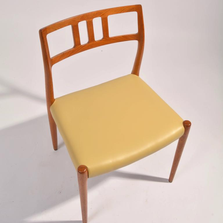 Eight J.L. Møller Model 79 Dining Chairs by Niels Møller in Leather For Sale 1