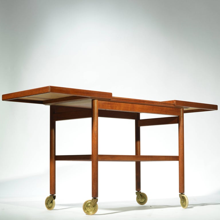 Danish Teak Bar Trolly with Expandable Top For Sale 1