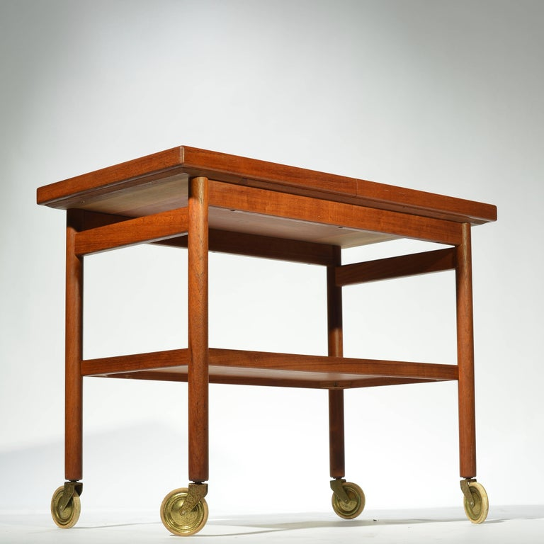 Mid-20th Century Danish Teak Bar Trolly with Expandable Top For Sale
