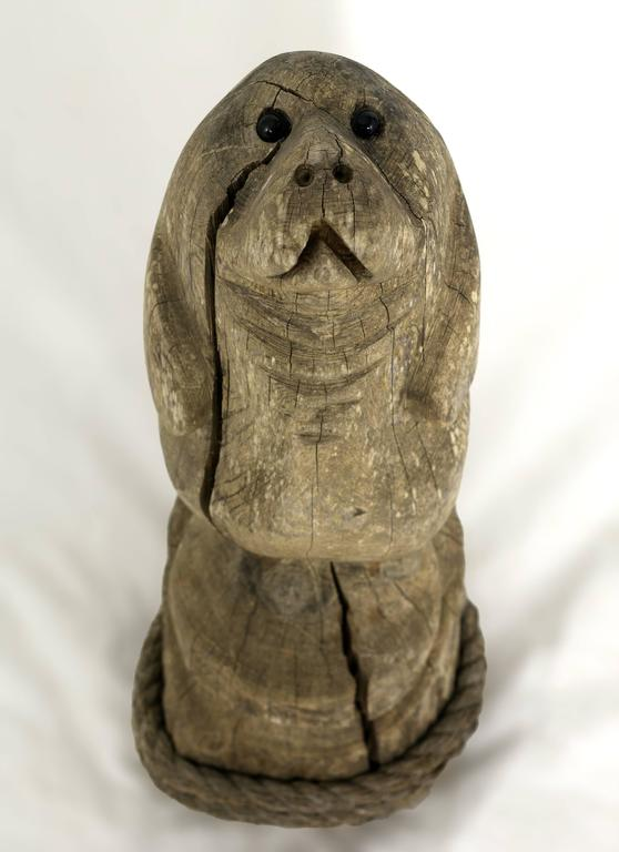 American Folk Art Carved and Painted Wooden Manatee Figure For Sale