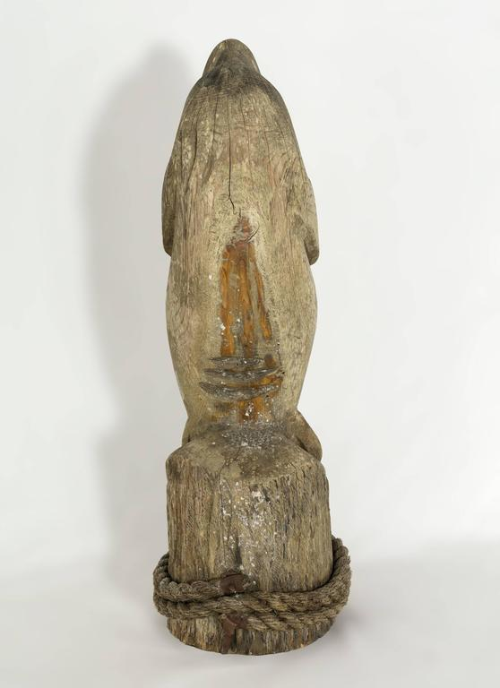 20th Century Folk Art Carved and Painted Wooden Manatee Figure For Sale