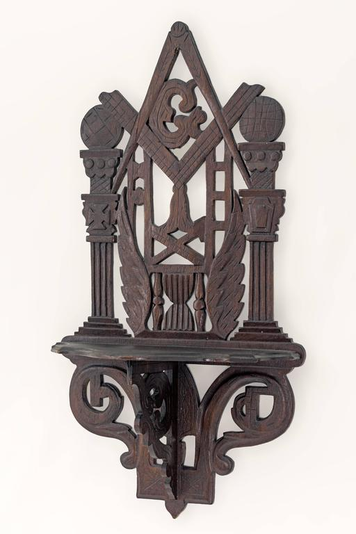 American Masonic Shelf Bracket Made Attributed to the John Haley Bellamy Workshop For Sale