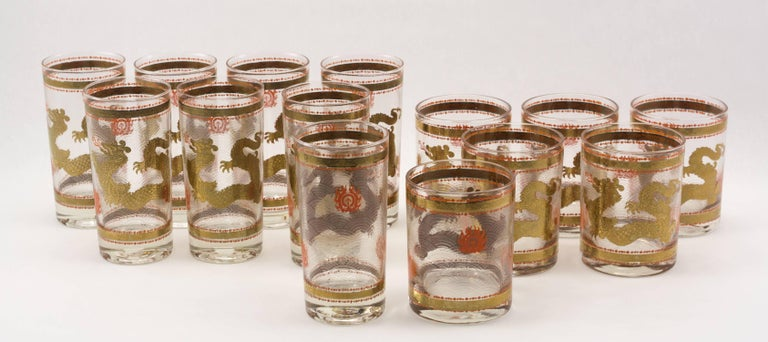 Set of 14 golden dragon design vintage barware by cera for sale at 14 piece vintage barware set with dragons and flaming pearls in 22 karat gold and gumiabroncs Gallery