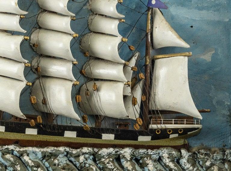 Folk Art Ship Diorama of a Vessel in Rocky Seas For Sale