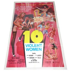 "Vintage Cult 'B' Hollywood Movie Poster, ""10 Violent Women"", 1982, One of a Kind"