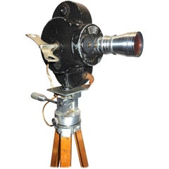 Hollywood Early 20th Century Movie Camera with Vintage Head and Wood Tripod Legs
