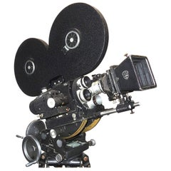 Hollywood Midcentury Vintage Movie Camera with Geared Head and Wood Tripod Legs