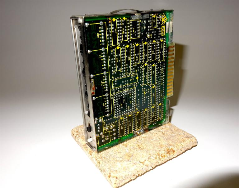 Industrial Sony circa Mid-20th Century Television Time Code Circuit Board on Stone. ON SALE For Sale