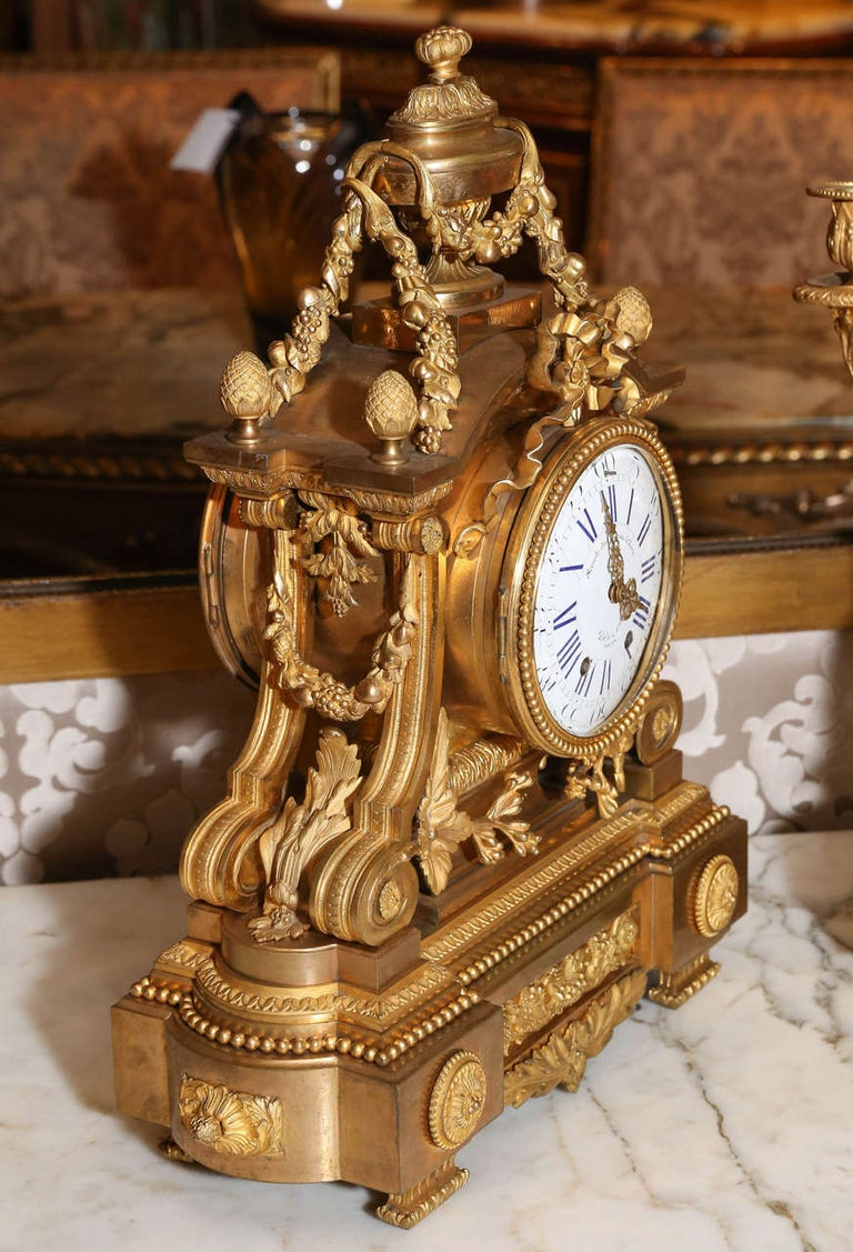 French 19th Century Three-Piece Bronze Doré Garniture Clock Set For Sale 3