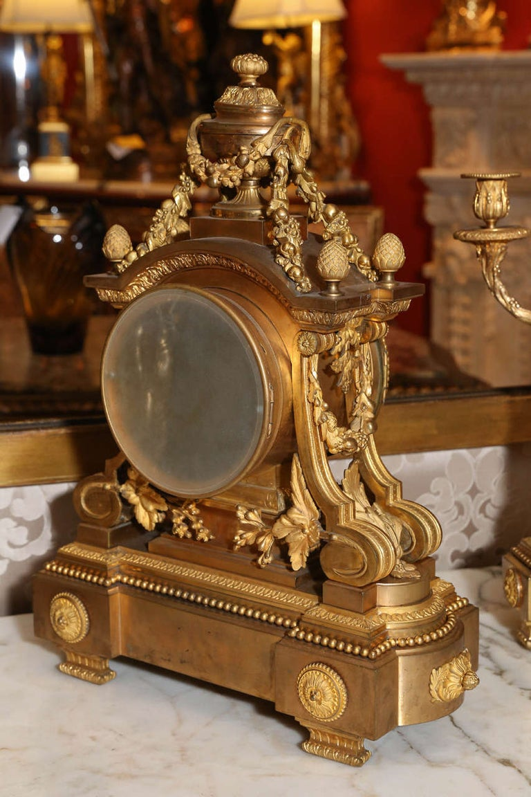 French 19th Century Three-Piece Bronze Doré Garniture Clock Set For Sale 4