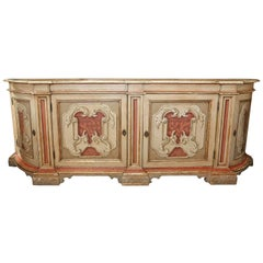 Italian Polychrome Credenza or Buffet with Faux Marble Top, Early 19th Century