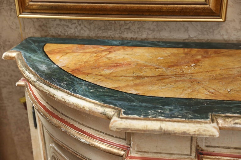 Polychromed Italian Polychrome Credenza or Buffet with Faux Marble Top, Early 19th Century For Sale