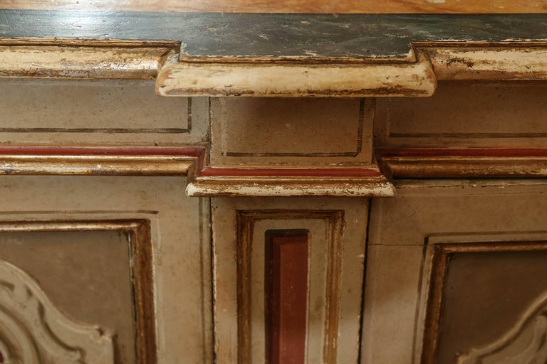Wood Italian Polychrome Credenza or Buffet with Faux Marble Top, Early 19th Century For Sale