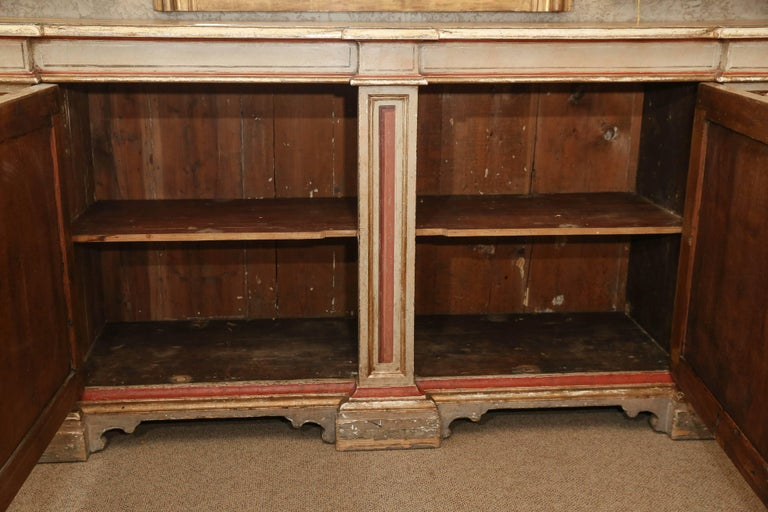 Italian Polychrome Credenza or Buffet with Faux Marble Top, Early 19th Century For Sale 1