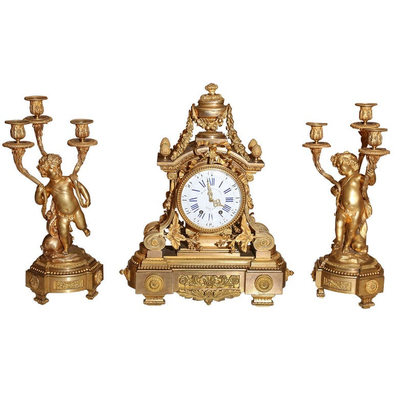 French 19th Century Three-Piece Bronze Dore Garniture Clock Set For Sale