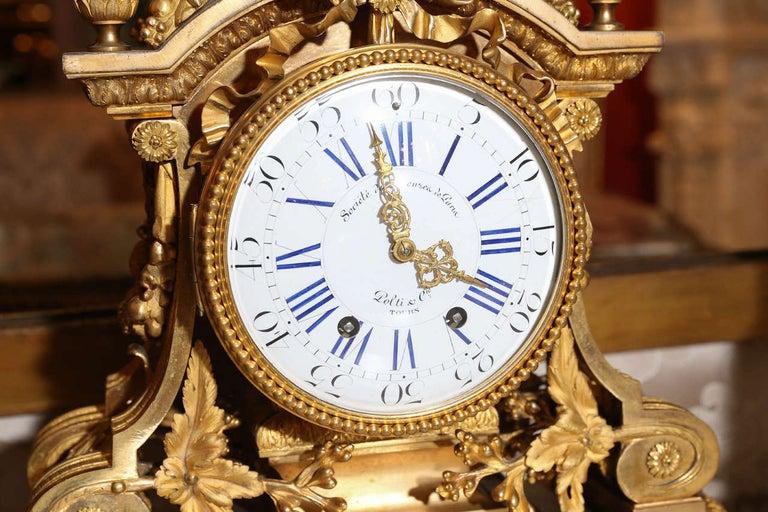 French 19th Century Three-Piece Bronze Dore Garniture Clock Set For Sale 2