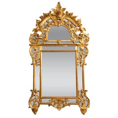French 19th Century Chinese Chippendale Style Giltwood Mirror