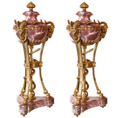 Pair of Gilt Bronze and Rouge Marble Cassolettes