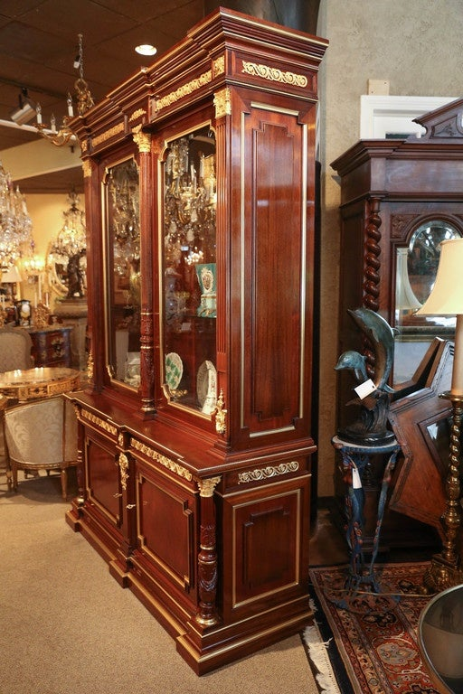 French Louis XVI Style Gilt Bronze Mounted Mahogany  china / display  Cabinet For Sale