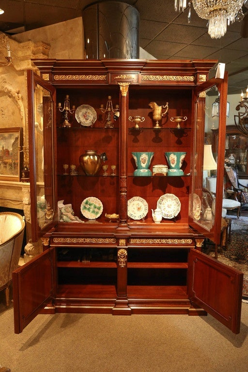 Louis XVI Style Gilt Bronze Mounted Mahogany  china / display  Cabinet For Sale 2