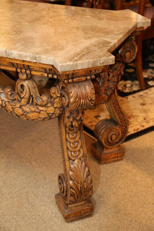 Engraved Limestone Inlay : Italian carved and waxed wood marble top center table for