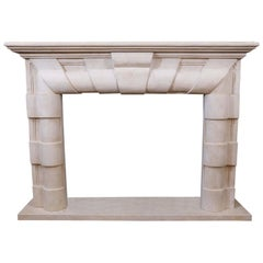 Marble Mantel in Art Deco Style, Hand-Carved Stone in Pale Cream Color