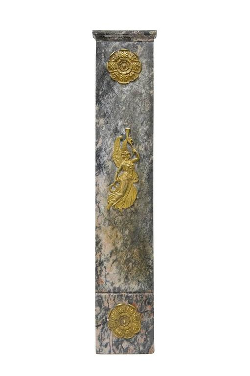 895/M, important and antique marble fireplace,  peach blossom with prevalence of  grey-green,  with beautiful Angels gilt bronze friezes. 1820s about.