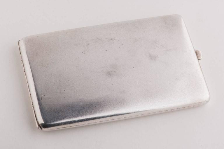 Beautiful silver cigarette case (or personal business card holder), with initials in gold. Rare antique single piece.