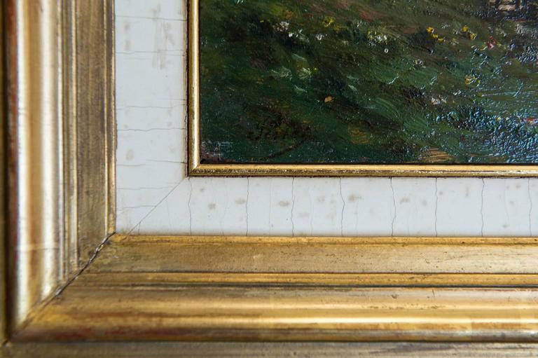 Romantic Countryside Landscape Old French Painting Like a Miniature For Sale