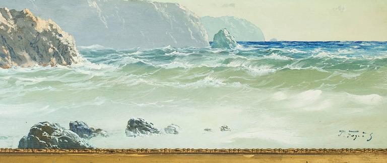 Hand-Painted English Marine Landscape with Cliffs oil on canvas Painting For Sale