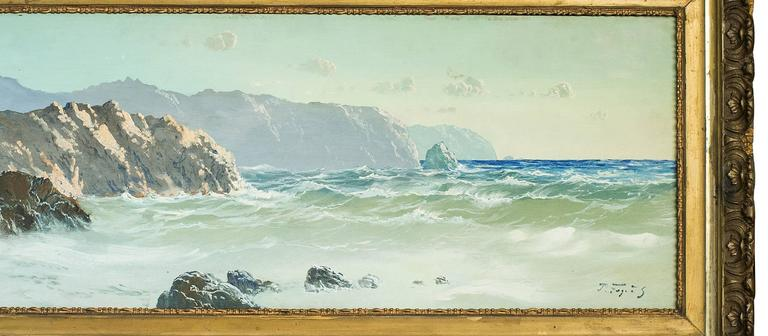 19th Century English Marine Landscape with Cliffs oil on canvas Painting For Sale