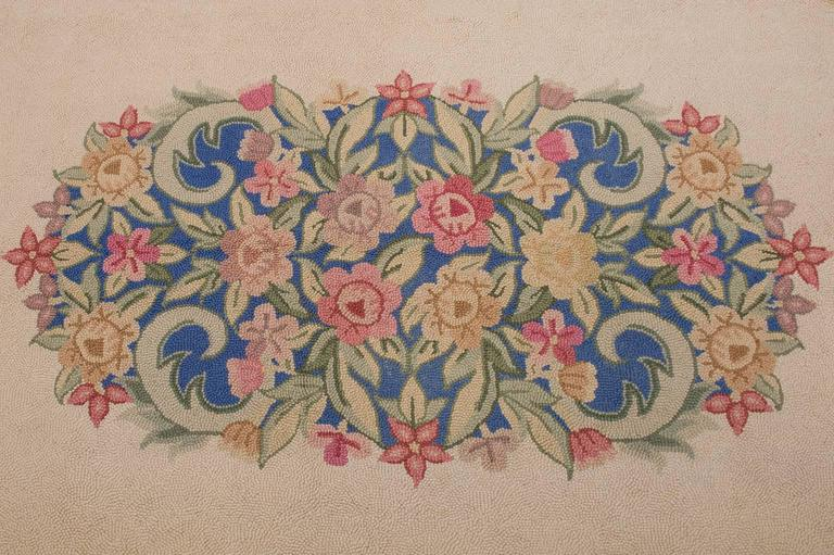Hand-Knotted  Vintage Hooked Carpet in Aubusson Style- FINAL CLEARANCE SALE For Sale