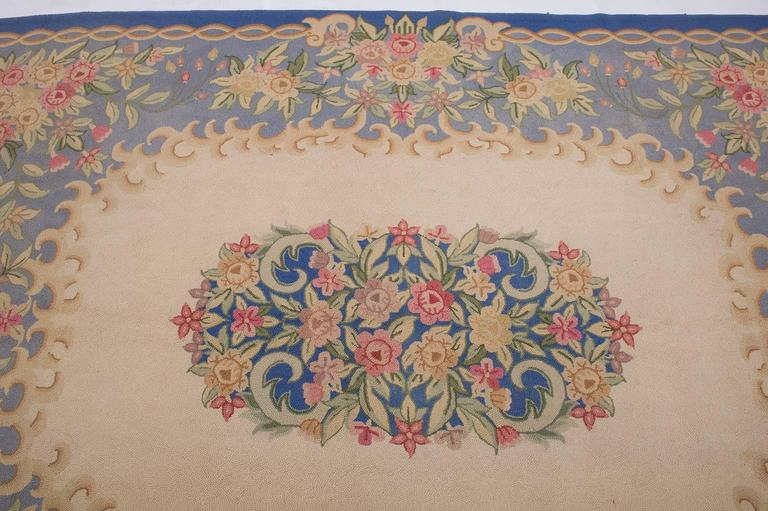 20th Century  Vintage Hooked Carpet in Aubusson Style- FINAL CLEARANCE SALE For Sale