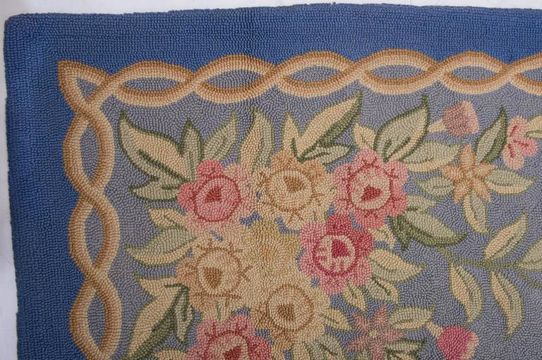 Wool  Vintage Hooked Carpet in Aubusson Style- FINAL CLEARANCE SALE For Sale