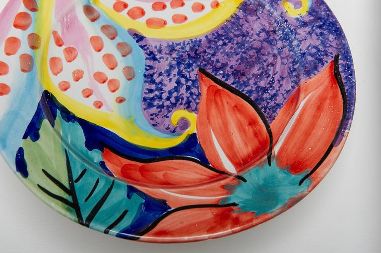Summer Table: Italian Hand Painted Dishes In Excellent Condition For Sale In Alessandria, Piemonte
