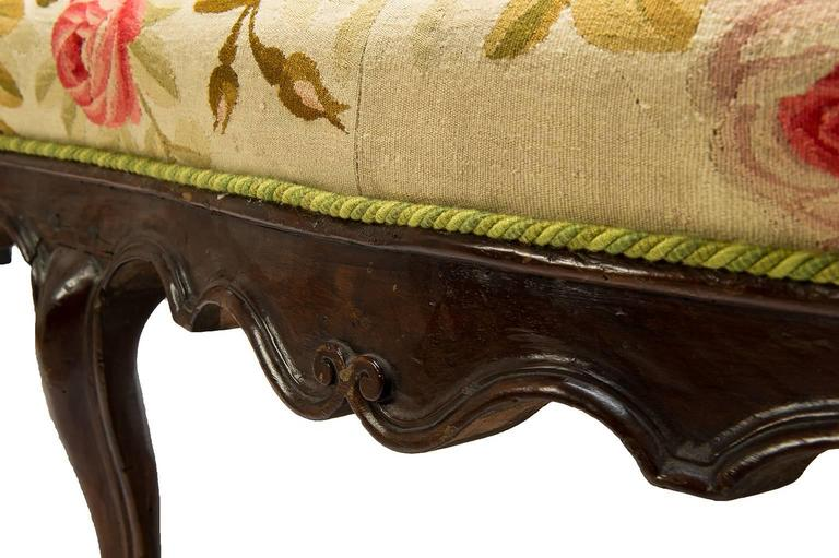 Hand-Carved Antique  Sofa Louis XV, Covered with Authentic Old Aubusson Tapestry For Sale