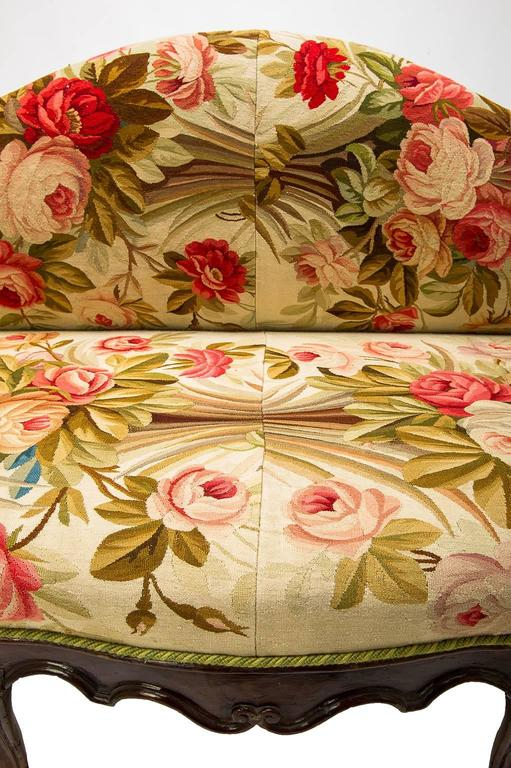 Wood Antique  Sofa Louis XV, Covered with Authentic Old Aubusson Tapestry For Sale