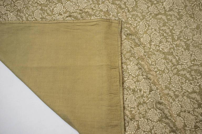 German Elegant Embroidered Silk Bed Cover, Full of Pillows For Sale