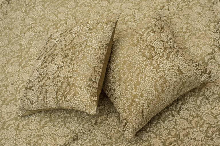 Machine-Made Elegant Embroidered Silk Bed Cover, Full of Pillows For Sale
