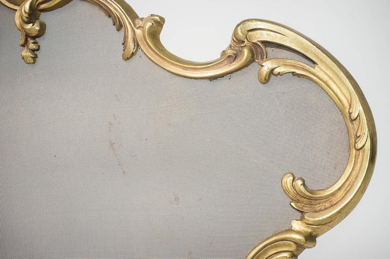 Brass French Fireplace Screen, Complete with Andirons For Sale