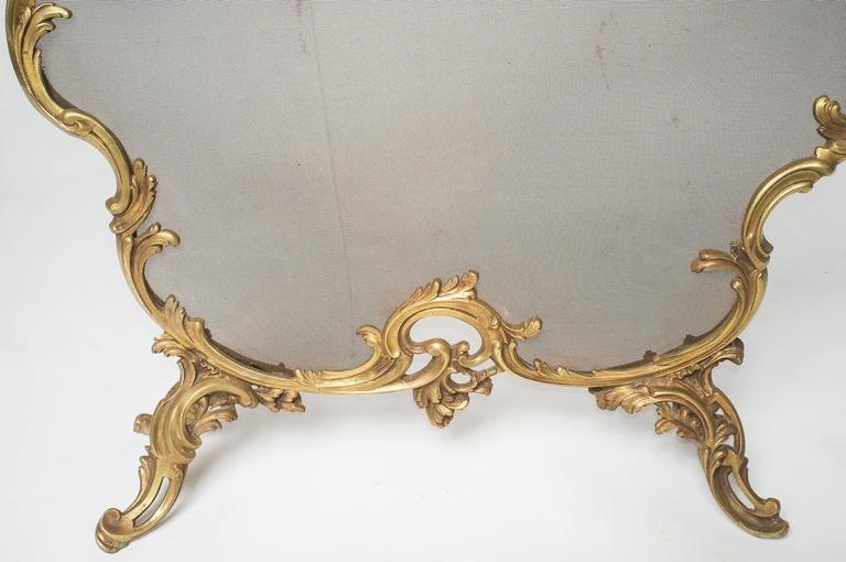 French Fireplace Screen, Complete with Andirons For Sale 1