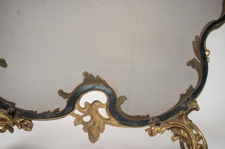 French Fireplace Screen, Complete with Andirons For Sale 3