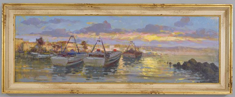 Naples sea in a magic painting signed by Renato Criscuolo, the famous painter born and living in that town. - O/6526.