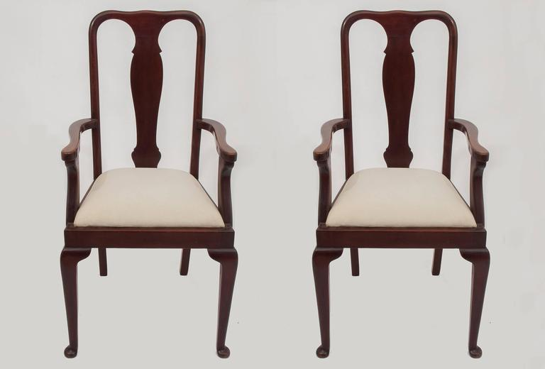 M/415, pair of Queen Anne mahogany high chairs, COMPLETE with six chairs LU137927942913 - See price with the chairs: total was 8.400 € for 8 pieces, now DISCOUNTED to 4.200 € for all set.