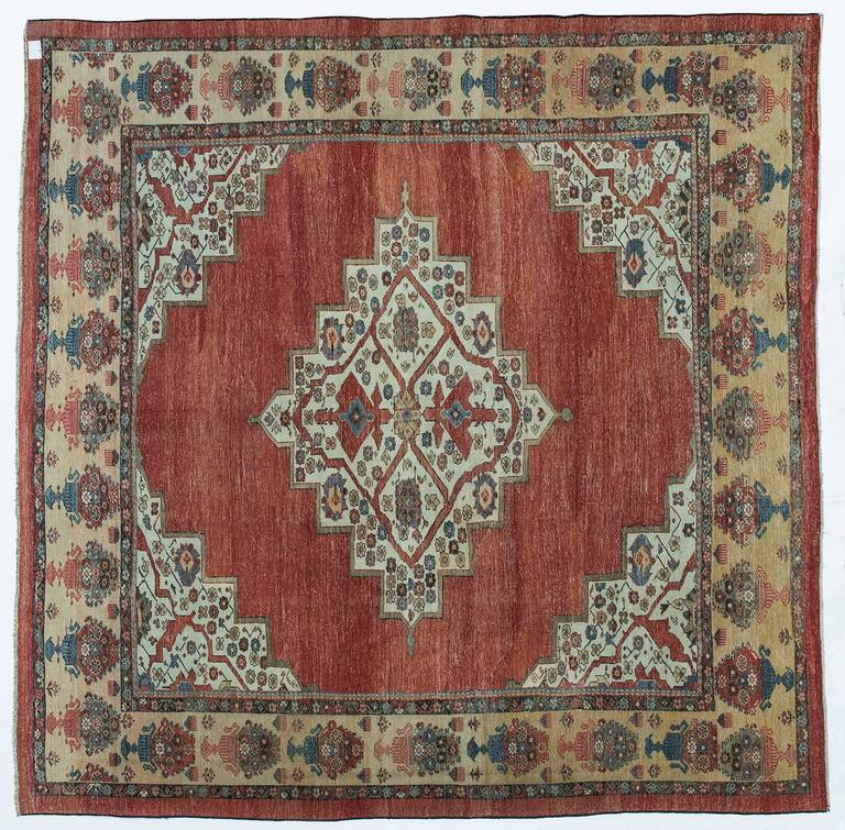 Square Antique Bakhshayesh Rug From Private Collection For