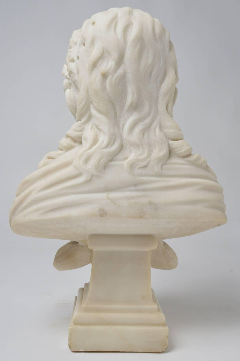 Smiling Little Girl With Flowers In The Hair White Marble Statue