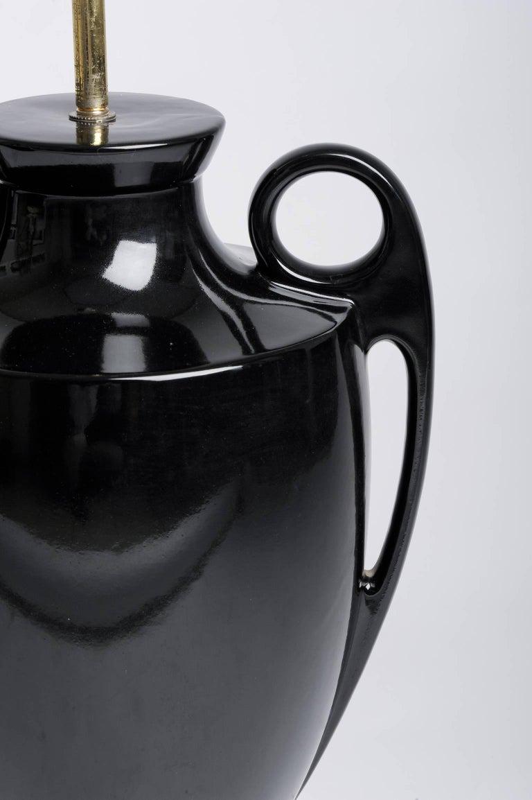 Classical Greek Italian Design Vintage High Black Table Lamp For Sale