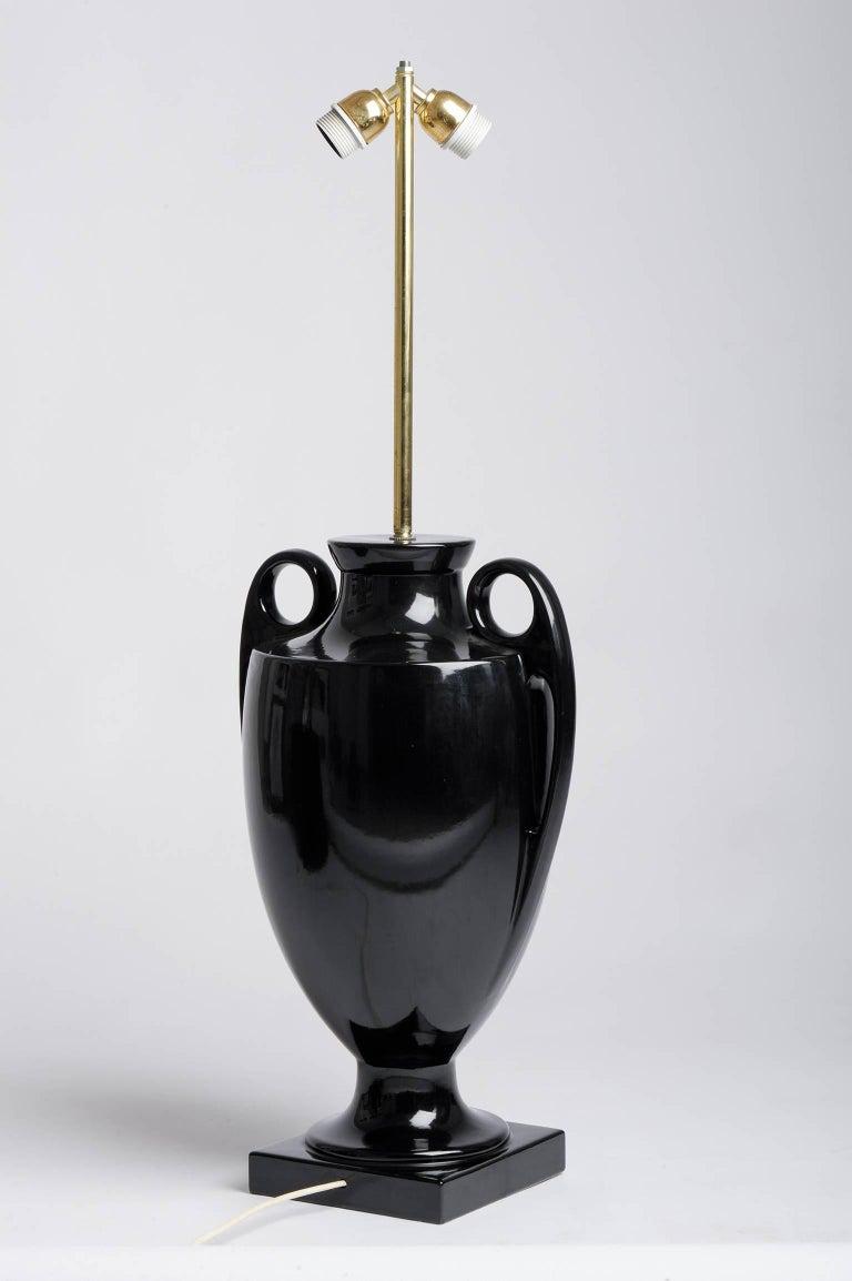 Italian Design Vintage High Black Table Lamp In Excellent Condition For Sale In Alessandria, Piemonte